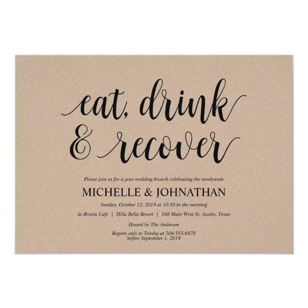 Rustic Kraft Post Wedding Brunch Invitation