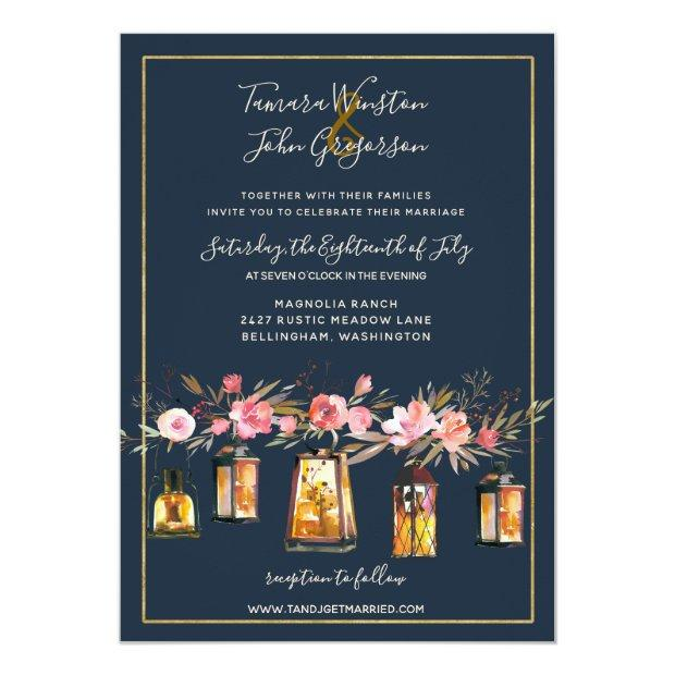 Rustic Lanterns Navy Blue Coral Floral Wedding Invitationss