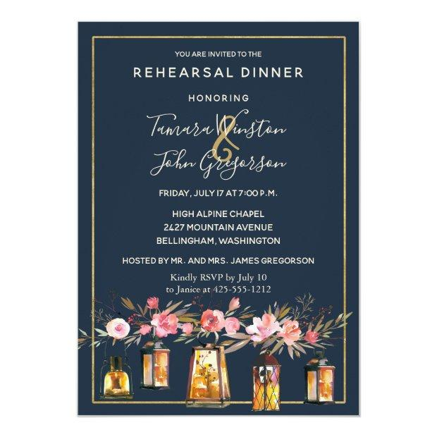 Rustic Lanterns Navy Blue Coral Rehearsal Dinner Invitationss
