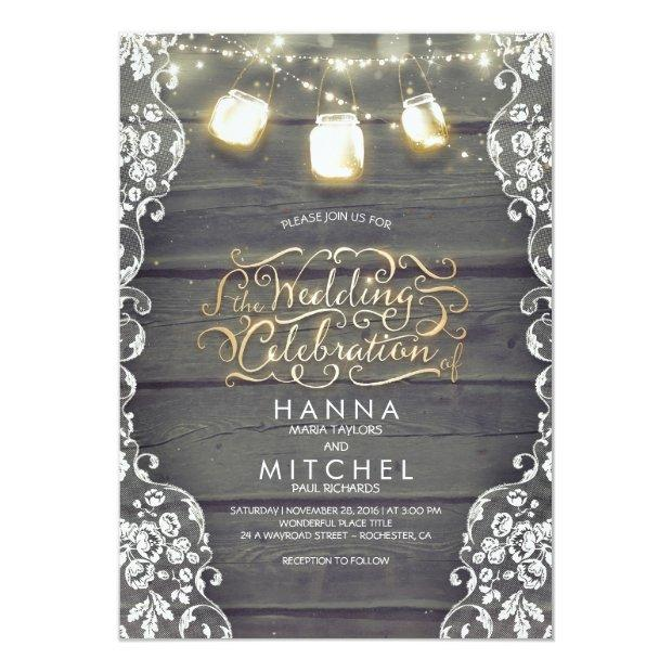 Rustic Mason Jar Lights Wood And Lace Wedding Invitationss