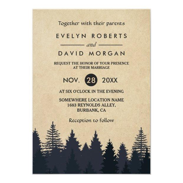 Rustic Pine Trees Kraft Winter Wedding