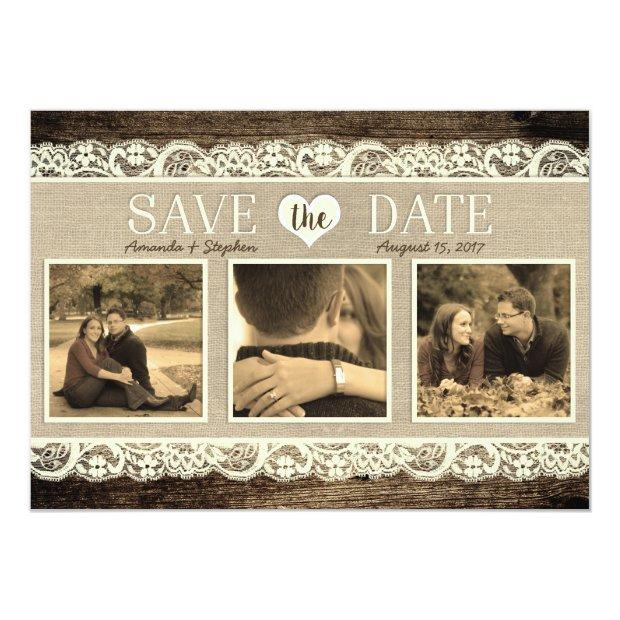 Rustic Save The Date | Barn Wood Lace And Burlap Invitationss