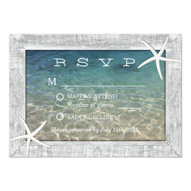 Rustic Starfish Wood Framed Beach Wedding Rsvp