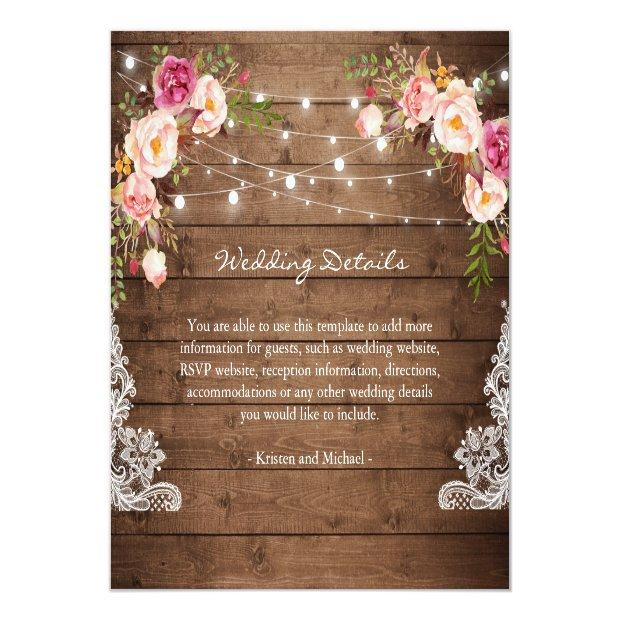 Rustic String Lights Floral Lace Wedding Details Invitationss