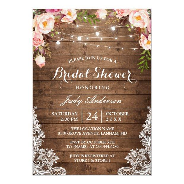 Rustic String Lights Lace Floral Bridal Shower Invitationss