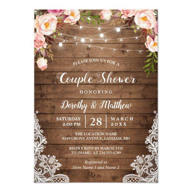 Rustic String Lights Lace Floral Couple's Shower