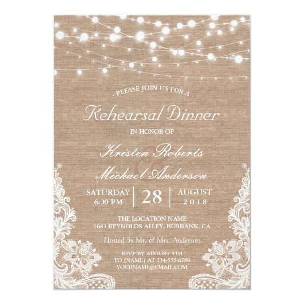 Rustic String Lights Lace Wedding Rehearsal Dinner Invitationss