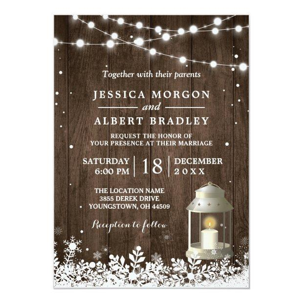 Rustic String Lights White Lantern Winter Wedding Invitations