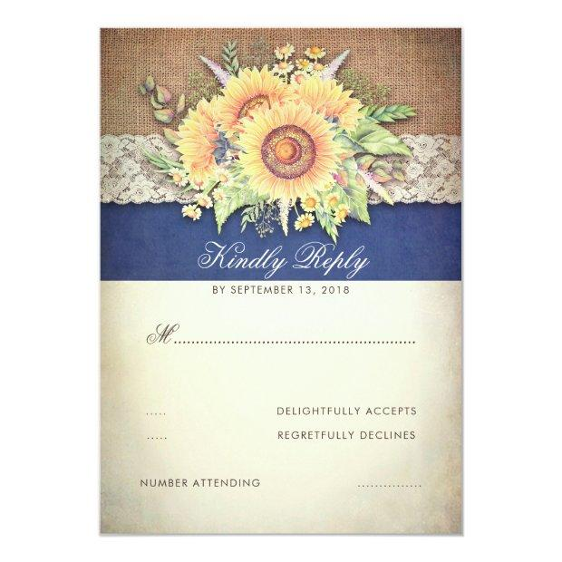 Rustic Sunflowers Burlap Navy Wedding Rsvp