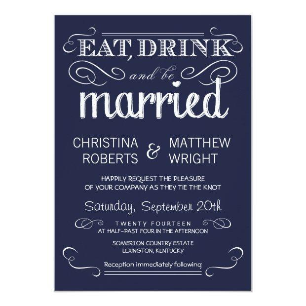 Rustic Typography Navy Blue Wedding Invitationss