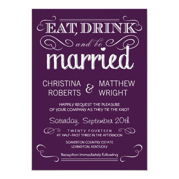 Rustic Typography Plum Purple Wedding Invitationss