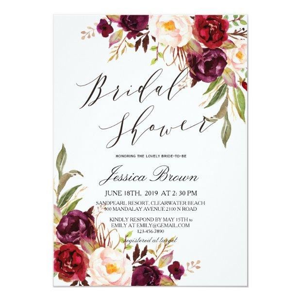 Rustic Watercolor Floral Wreath Bridal Shower Invitationss