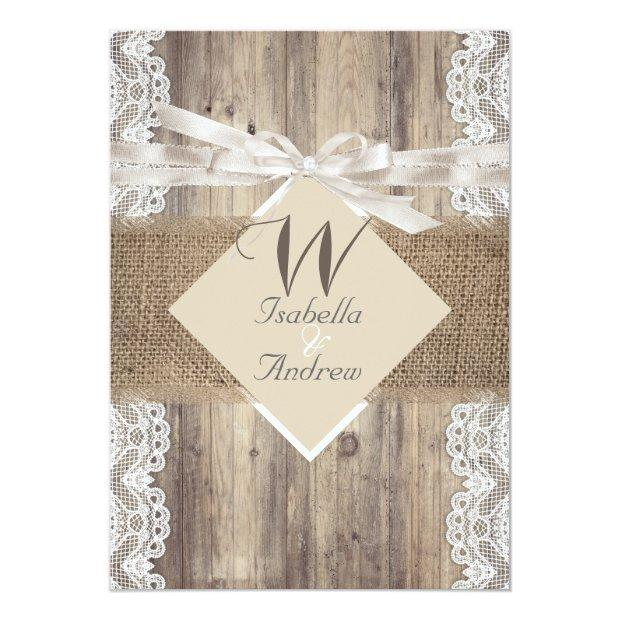 Rustic Wedding Beige White Lace Wood Burlap 2 Invitationss
