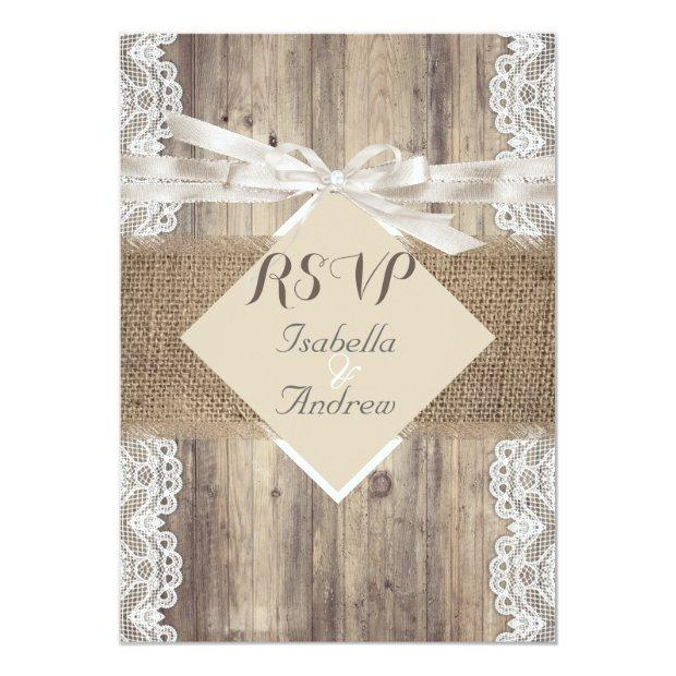 Rustic Wedding Beige White Lace Wood Rsvp