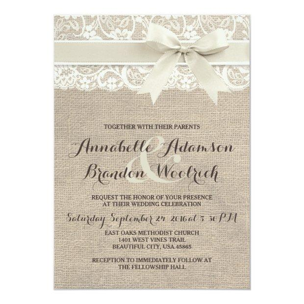 Rustic Wedding Invitations | Burlap Lace Bow Look