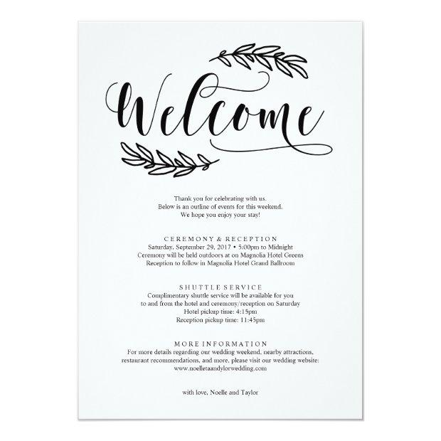 Rustic Wedding Weekend Welcome Itinerary