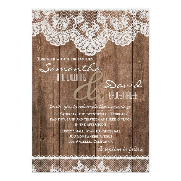 Rustic White Lace And Wood Wedding