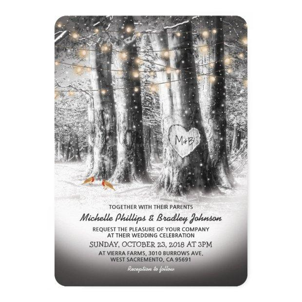 Rustic Winter Tree & String Lights Wedding Invitationss