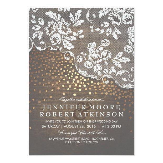 Rustic Wood And Lace Gold Confetti Elegant Wedding Invitation
