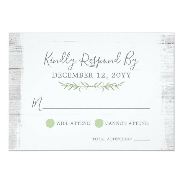 Rustic Wood Botanical Leaf Wedding  Rsvp