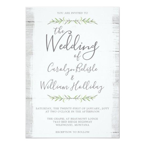 Rustic Wood & Botanical Leaves Wedding Invitations