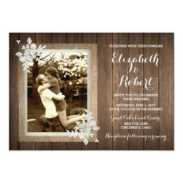 Rustic Wood Burlap Lace Photo