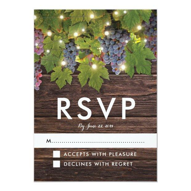 Rustic Wood Country Winery Lights Wedding Rsvp Invitationss