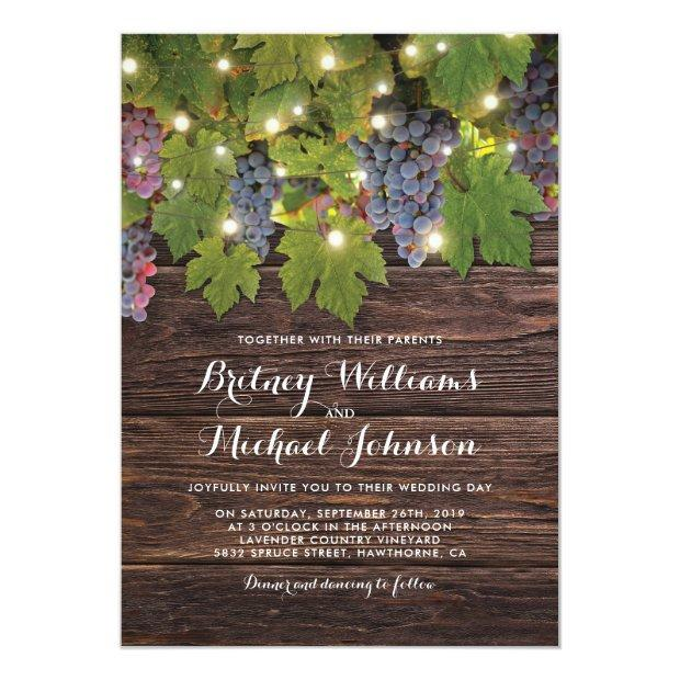 Rustic Wood Country Winery Twinkle Lights Wedding Invitationss