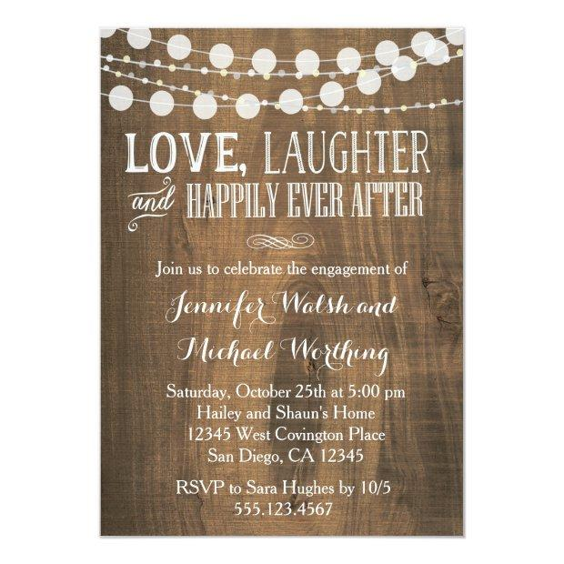 Rustic Wood Engagement Party Invitations