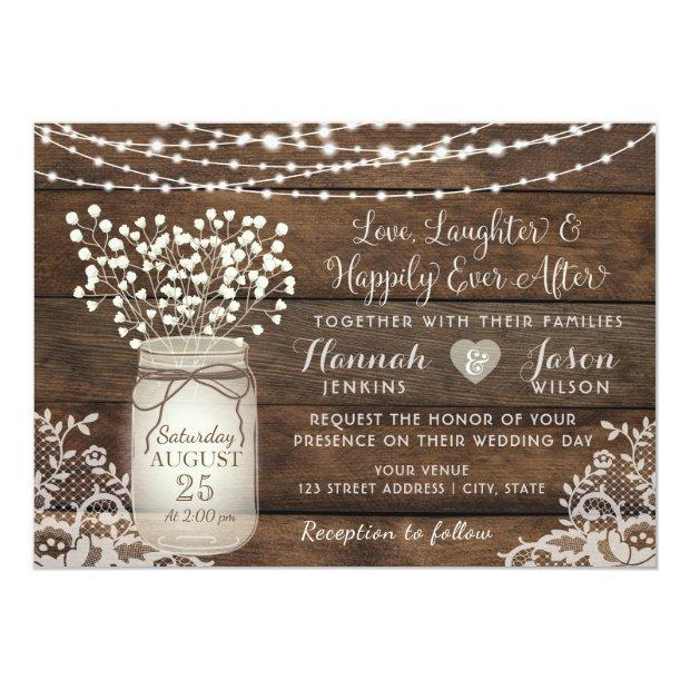 Rustic Wood Lace Wedding Invitation, Mason Jar