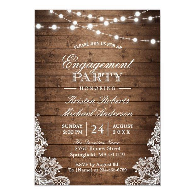 Rustic Wood String Lights Lace Engagement Party