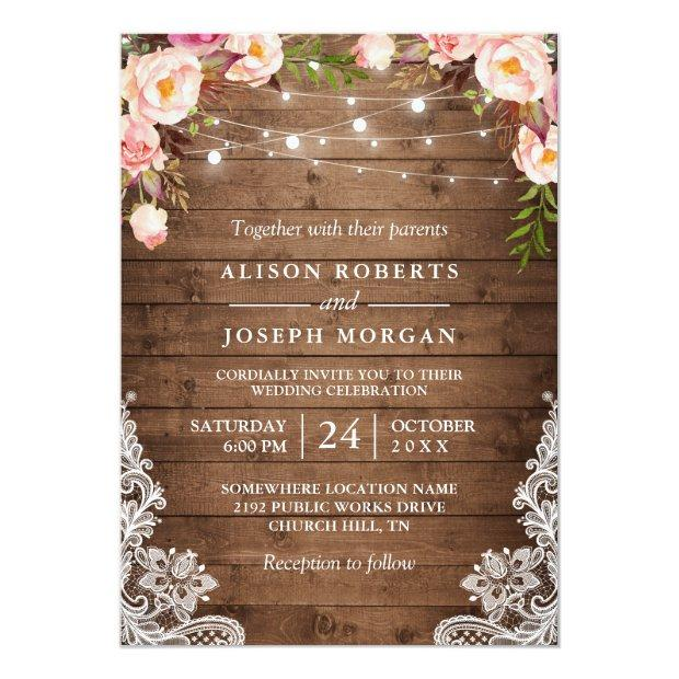 Rustic Wood String Lights Lace Floral Farm Wedding Invitationss