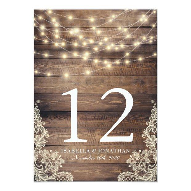 Rustic Wood & String Lights | Lace Table Number