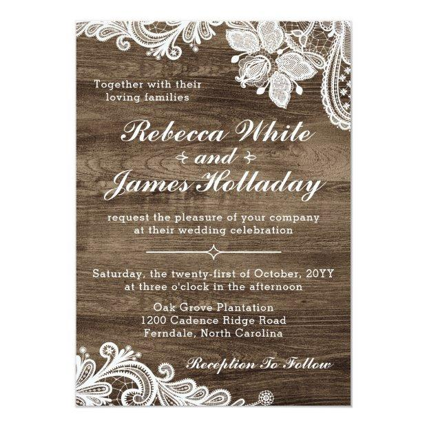 Rustic Wood & Vintage Lace Wedding Invitation