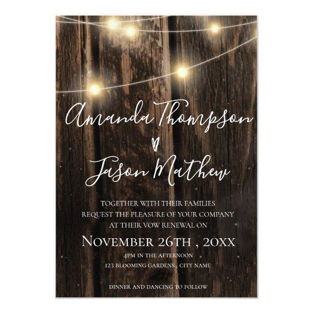 Rustic Wood With String Lights Vow Renewal Invitation
