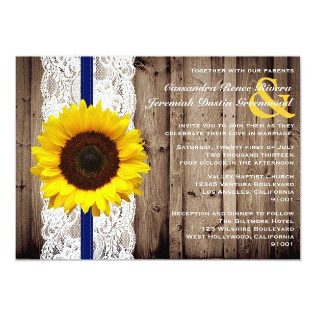 Rustic Wooden And Lace With Sunflower Wedding Invitationss