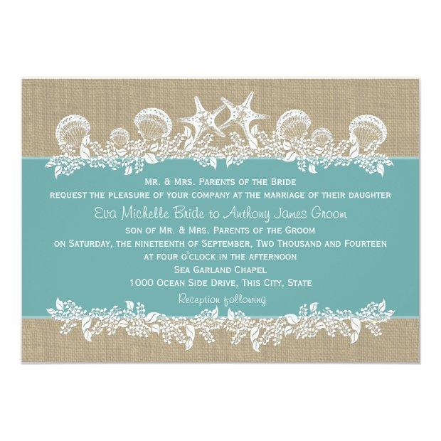 Sea Garland Teal Wedding Invitation