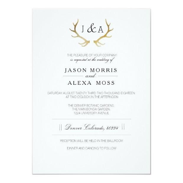 Simply Rustic Gold Antler | Elegant Wedding Invitationss