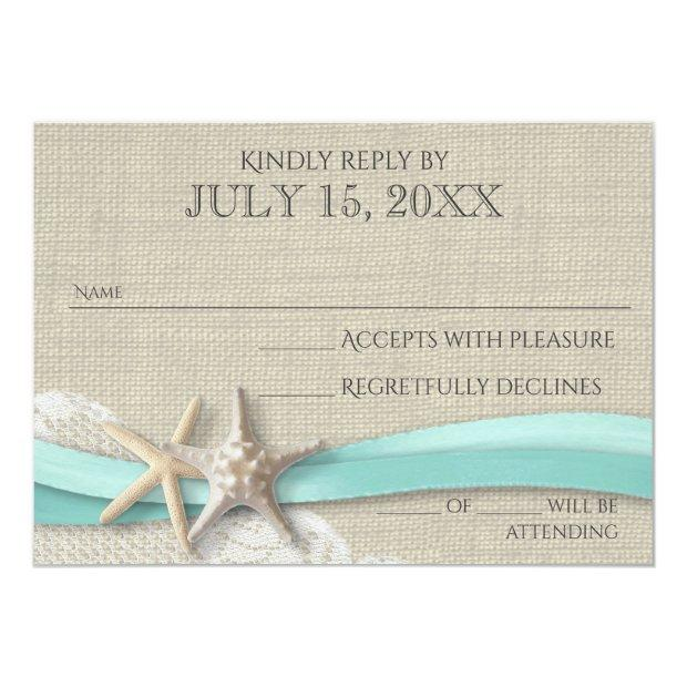 Starfish And Lace Rustic Response Invitationss