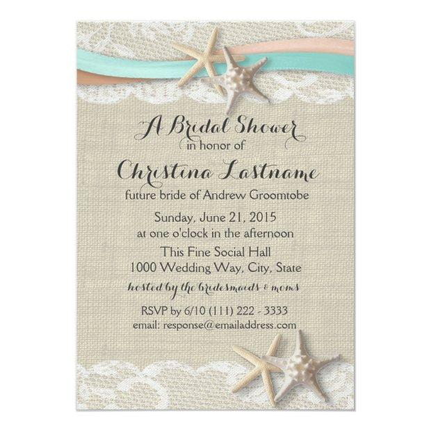 Starfish And Ribbon Aqua Peach Bridal Shower Invitation