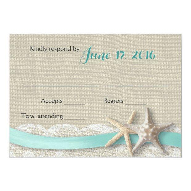 Starfish And Ribbon Beach Aqua Rsvp