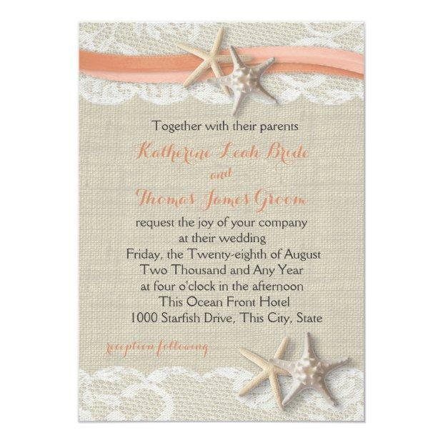 Starfish And Ribbon Vintage Beach Coral Wedding