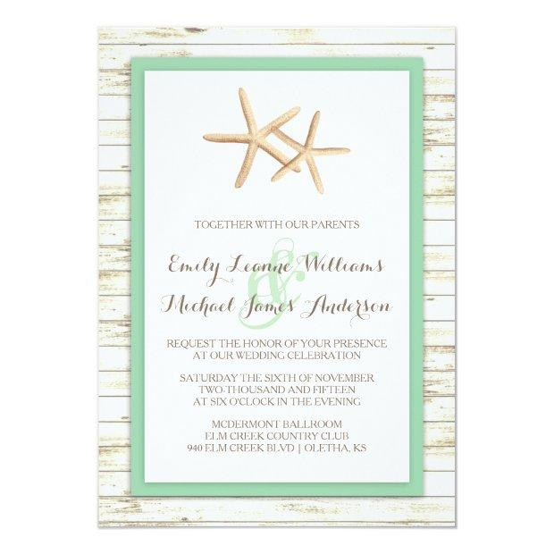 Starfish Whitewashed Wood Beach Wedding
