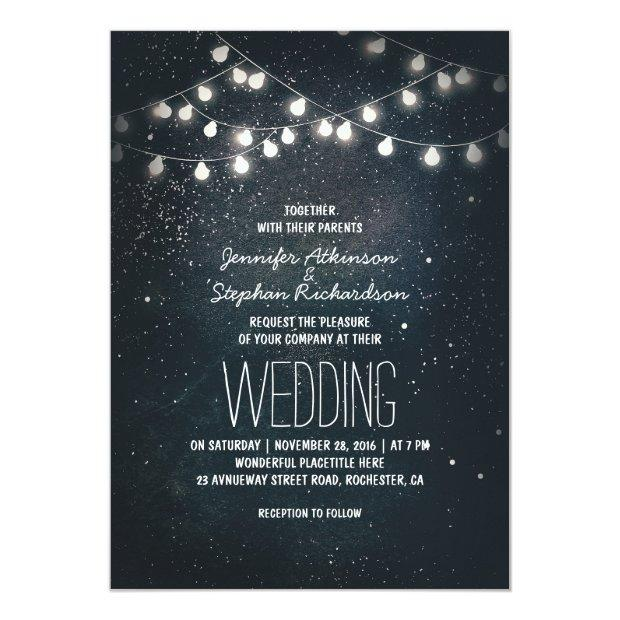 String Lights And Night Sky Stars Wedding Invites