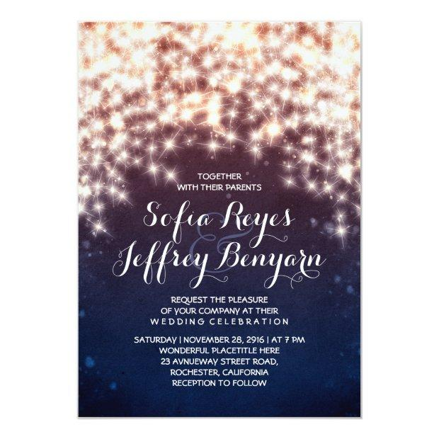 String Lights Glitter Navy Vintage Elegant Wedding Invitations