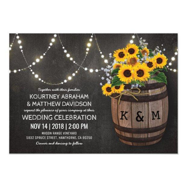 String Lights Rustic Vineyard Sunflower Wedding