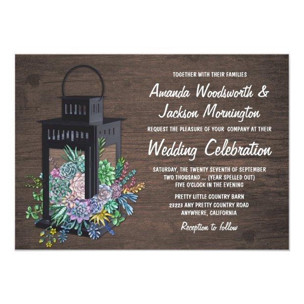 Succulent Rustic Wood Lantern Wedding Invitation
