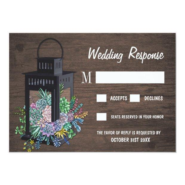 Succulent Rustic Wood Lantern Wedding Rsvp Invitationss