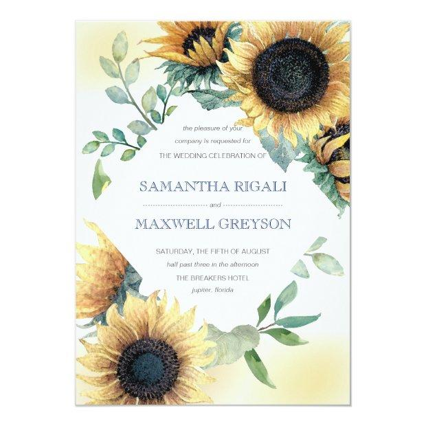 Sunflower And Navy Blue Wedding Invite