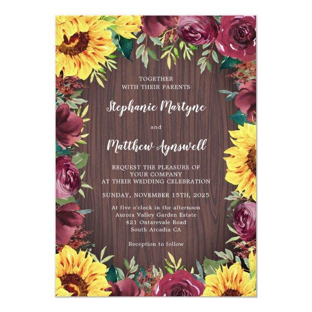 Sunflower Burgundy Rose Border Wood Rustic Wedding Invitation